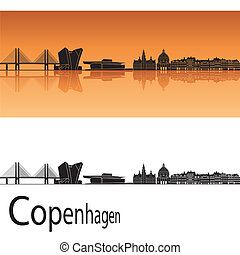 Copenhagen skyline in orange background in editable vector...