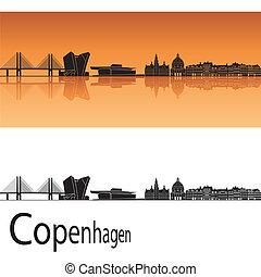 Copenhagen skyline in orange background in editable vector...