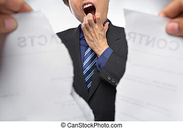 Contract refusal or rejection - Businessman gawk and shocked...
