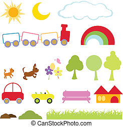 cartoon items for kids, icons, fun, activity and school