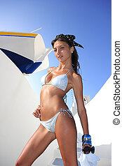 Young woman in Santorini - Beautiful young Greek woman...