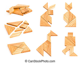 Isolated tangram with few figures - Isolated views of wooden...