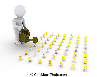 Person watering little dollar signs - 3d person is watering...