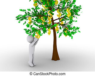 Person cutting dollar from tree of dollars
