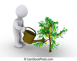 Person watering dollar tree - 3d person is watering small...