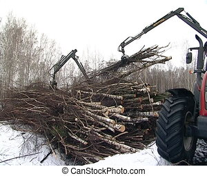 tractor load branches - tractor with crane load branches...