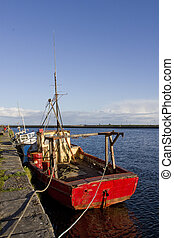 boat at the port of Galway, Ireland