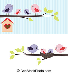 Family of birds sitting on a branch Two variations
