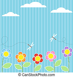 Card with flowers - Background with flowers and flying...