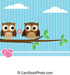 Owl couple - Background with couple of owls sitting on...