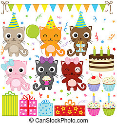 Birthday Party Cats - Vector birthday party elements with...