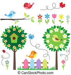 Garden set with birds, blooming trees, flowers and insects