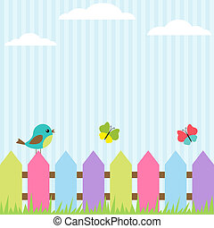 Bird and butterflies - Background with bird and flying...