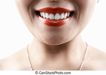 Grinning woman face - Grinning unrecognizable woman face,...