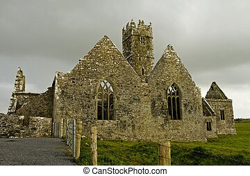 Ross Friary, County Galway, Ireland - Overcast landscape of...