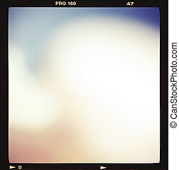 Blank medium format 6x6 color film frame with abstract...