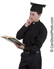 Priest - A priest with a bible thinking, isolated on white