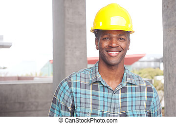 African American construction worker - portrait of an...