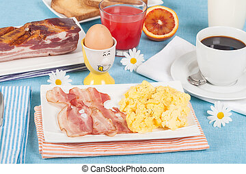 English breakfast - Breakfast with scrambled eggs and crispy...