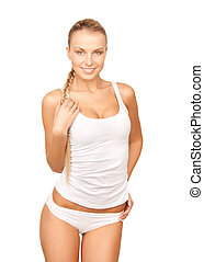 beautiful woman in cotton underwear - picture of beautiful...