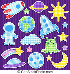 Space stickers - Set of cute vector colorful outer space...