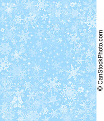 Subtle Blue Snow Background - Snow flakes on a light blue...