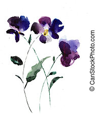 Watercolor illustration of Violet flowers