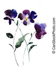 aquarela, Ilustração, violeta, flores