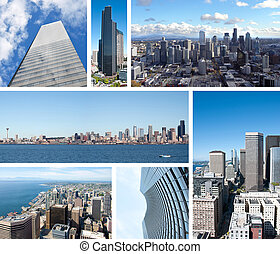 Seattle skyscrappers collage with seven photos