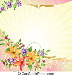 Background with flowers - Background with flower and...