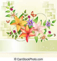 Background with flowers - Background with flower and...