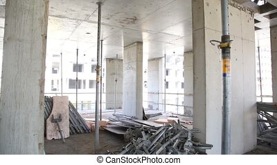 Panorama of unfinished level at construction site, few other...
