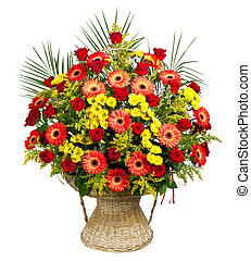 basket of roses, gerberas and palm leaves - arrangement in a...