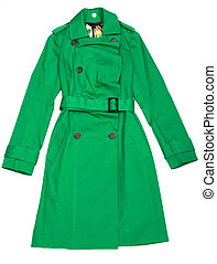 Green Women's raincoat with buttons and waist-band