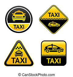 Taxi cab set buttons, group vector icons