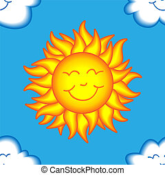 Seamless happy sun and cloud pattern - Seamless pattern made...