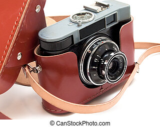 vintage 35mm film camera with case on the white