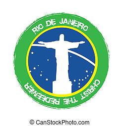 christ redeemer seal, rio de janeiro. vector illustration