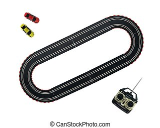 Slot Cars - An image of a toy slot car racing track