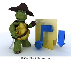 Pirate Tortoise depicting illegal music downloads