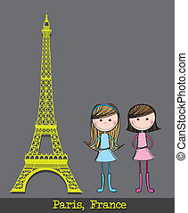 eiffel tower with two girls over gray background vector...