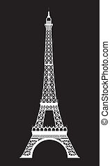 eiffel tower - white eiffel tower over black background...