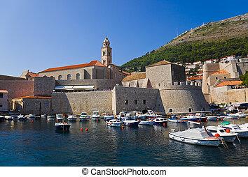 Port at town Dubrovnik in Croatia