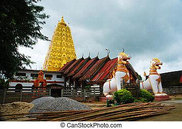 Thai golden Bodh Gaya in Sangkhlaburi Thailand