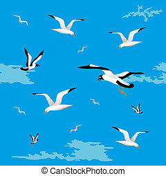 Sea gulls seamless - Background gull on a blue background....