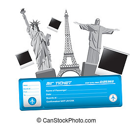 travel vector - world monuments and air ticket, travel...
