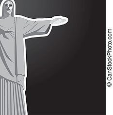 christ redeemer with space for copy over black background...