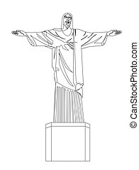 christ redeemer isolated over white background vector...