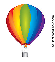 hot air balloon isolated over white background, rainbow....