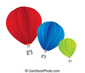 hot air balloon isolated over white background vector...